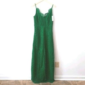 NEW! Anthropologie Lace Green Formal Dress